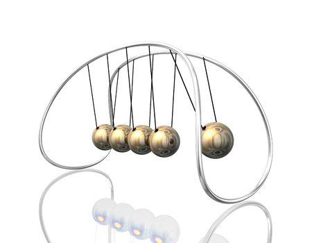 3d illustration looks newton`s pendulum in golden colors. Stock Illustration - 5776444