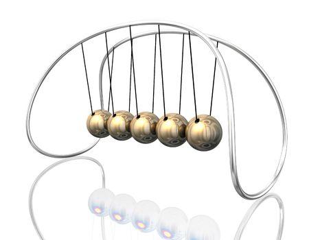 3d illustration looks newton pendulum in golden colors. Stock Illustration - 5776446