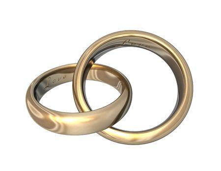 3d illustration looks golden wedding bands on white background. Stock Illustration - 5815279