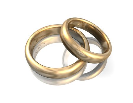 raytracing: 3d illustration looks golden wedding bands on white background. Stock Photo