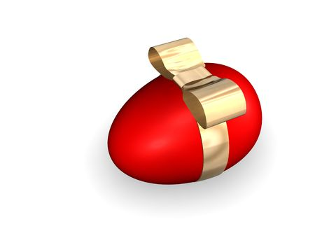 Red Easter Egg With Golden Band photo