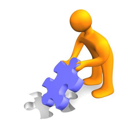 3d illustration looks orange humanoid with a puzzle. Stock Illustration - 5866276