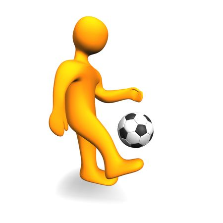 3d illustration looks humanoid person with a soccer ball. illustration