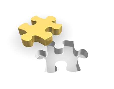 domination: 3d illustration looks puzzle in golden color.