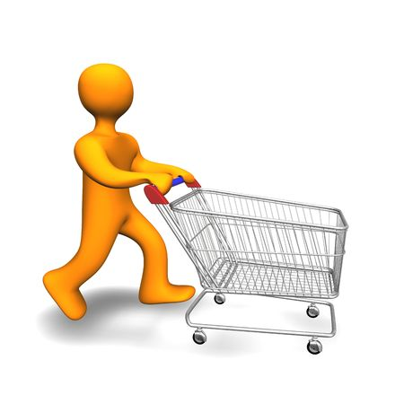 troley: 3d illustration looks a person with a shopping cart.