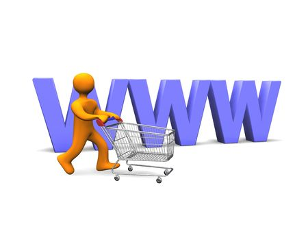 troley: 3d illustration looks person with a shopping cart. Stock Photo