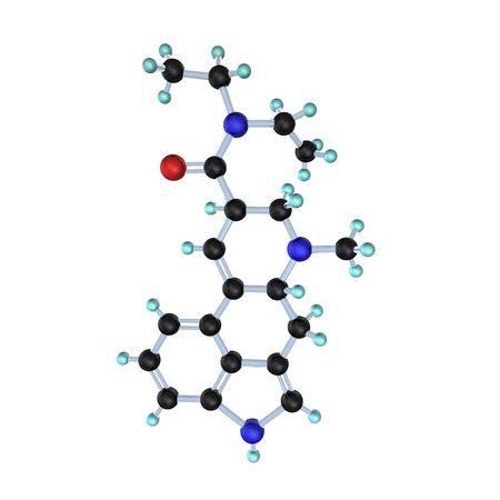 hallucinogenic: 3d illustration looks lsd molecule on white background.