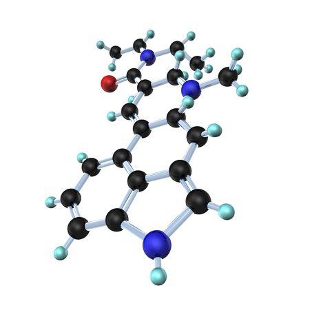 lsd: 3d illustration looks lsd molecule on white background.