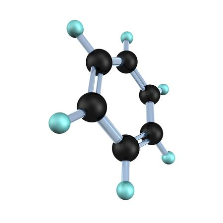 3d illustration looks molecule of benzene on the white background.