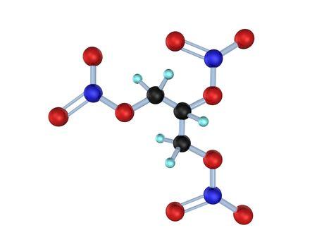 nitroglycerin: 3D illustration looks molecule of nitroglycerin on the white background.