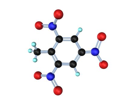 tnt: 3d illustration looks molecule of TNT on the white background.