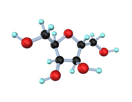 sucrose: 3d illustration looks the molecule of the sucrose on the white background. Stock Photo