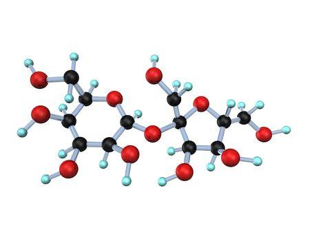 Ilustración 3D busca la molécula de azúcar sobre el fondo blanco.