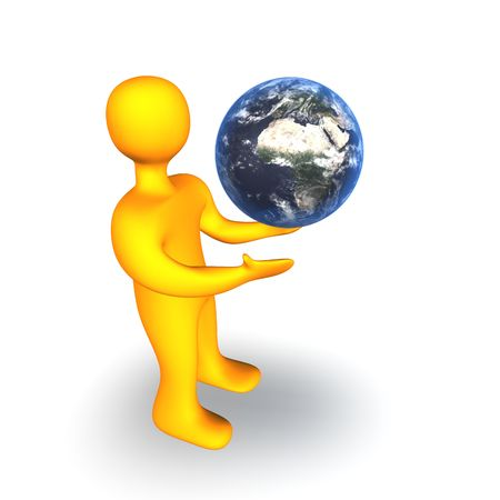 3d illustration looks human with a globe on the white background. Stock Illustration - 5986956