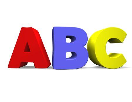write abc: 3d illustration looks the abc multicolored.
