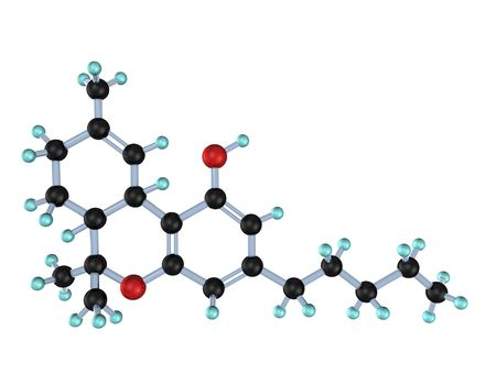 tetrahydrocannabinol: 3d illustration looks molecule of the thc on the white background. Stock Photo