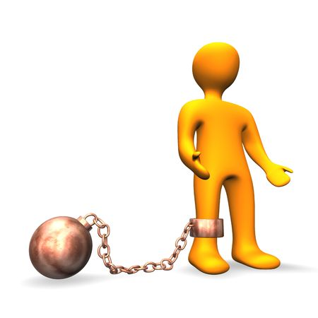3d illustration looks human with a chain ball on the white background.