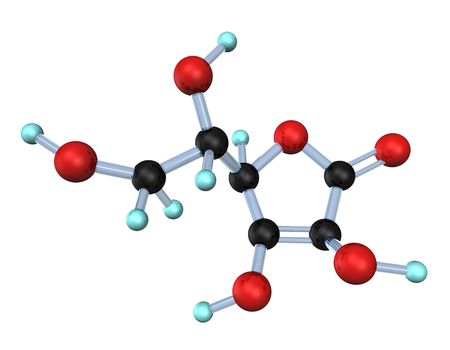 ascorbic: 3d illustration looks molecule of the vitamin c on the white background.