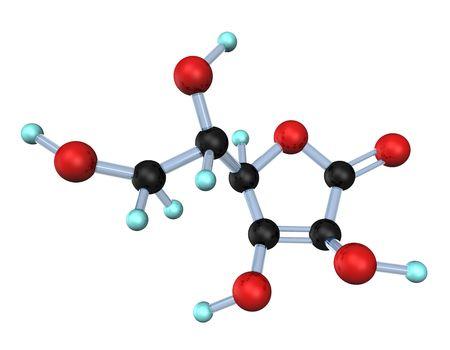acido: Ilustraci�n 3D espera la mol�cula de la vitamina c sobre el fondo blanco.