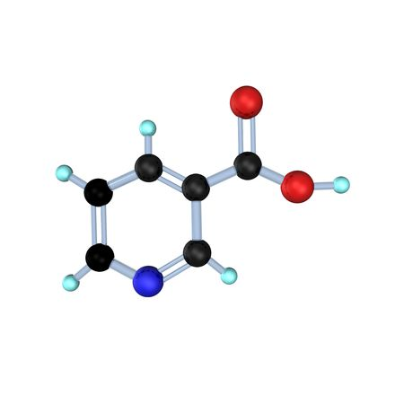 3d illustration looks molecule of vitamin b3.
