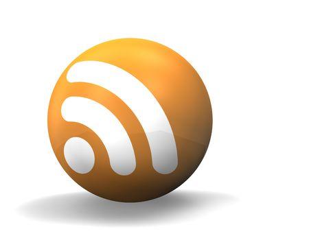 syndication: 3d illustration looks rss orange ball on the white background.