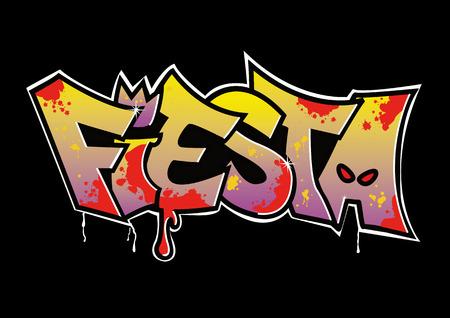 Graffiti - Fiesta (eigenaar van alle rechten!)  Stock Illustratie