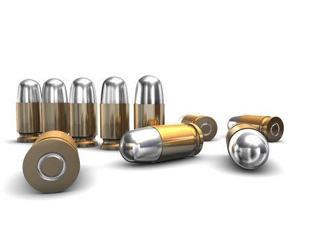 gun shell: Ilustraci�n 3D busca munici�n en el metro de blanco.