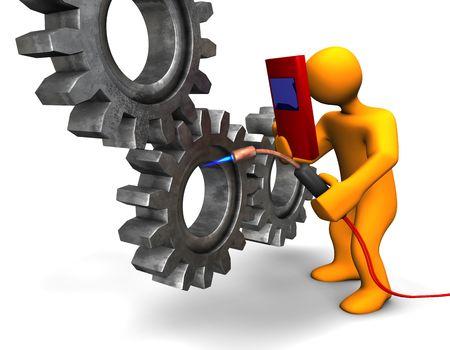 industrial mechanics: Ilustraci�n 3D mira que una persona humanoide de soldadura.