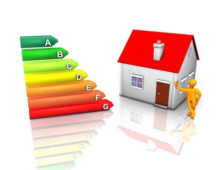 3D-afbeelding eruitziet eco-huis met energie rating symbool. Stockfoto