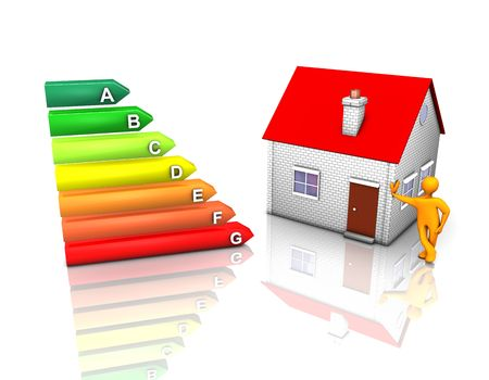 3d illustration looks eco-house with energy rating symbol.