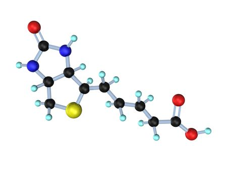 biotin: 3d illustration looks molecule of vitamin b7.