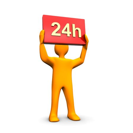 3d illustration looks a humanoid person with 24h text in the hands. Stock Illustration - 6275355