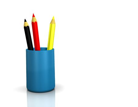 national colors: 3D illustration looks pens in german national colors. Stock Photo