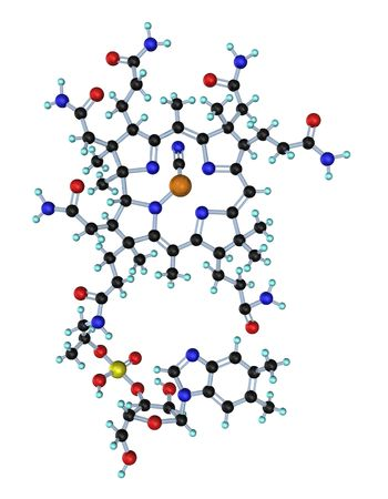 3D illustration looks molecule of the vitamin b12 on the white background. Stock Illustration - 6318196