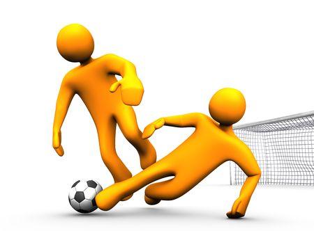 3d illustration looks two orange humanoides playing soccer. Stock Illustration - 6318198