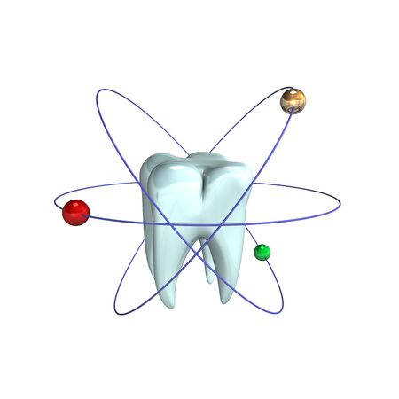 3d illustration looks the tooth  in atomic design. Stock Illustration - 6379520