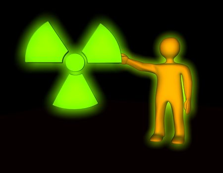 plutonium: 3d illustration looks radioactiv symbol with orange humanoid person.