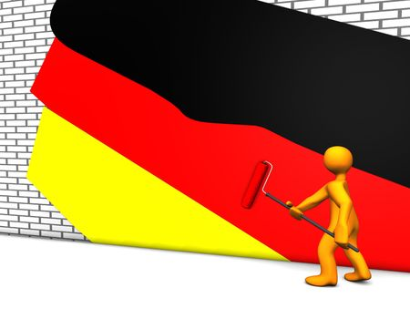 3d illustration looks a humanoid person painting german national colors. Stock Illustration - 6419014