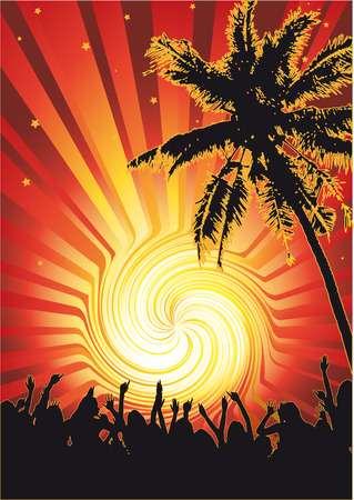 Flyer or poster for your beach party. Vector