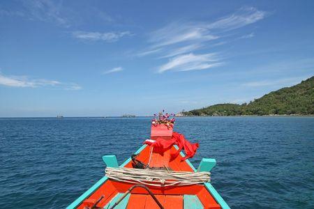 longtail: Longtail boat in thailand, near koh phangan. Stock Photo
