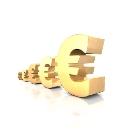 fonds: 3d illustration looks euro symbols at the white background.