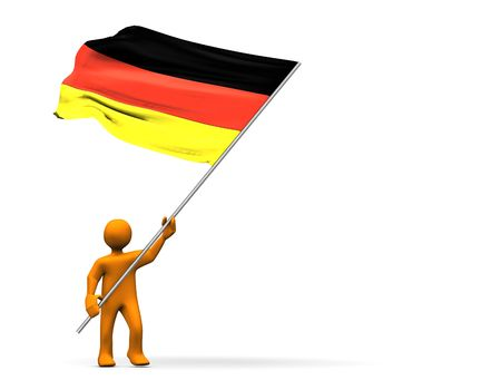 humanoid: A fan of soccer with big german flag.