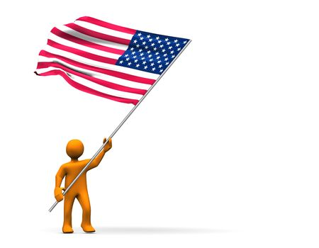Fan with US-Flag, abstractly 3d illustration.