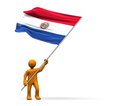 Illustration looks a fan with a big flag of paraguay. illustration