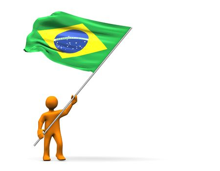 abstractly: Fan with  brazil flag, abstractly 3d illustration.