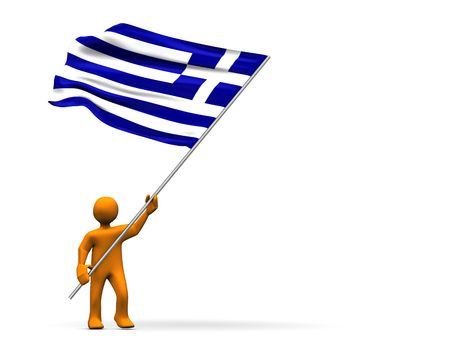 Illustration looks a fan of Greece with a big flag. illustration