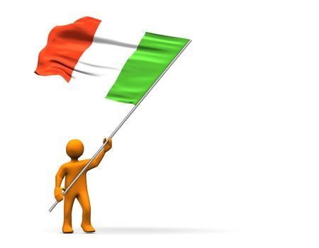abstractly: Fan with italian flag, abstractly 3d illustration.