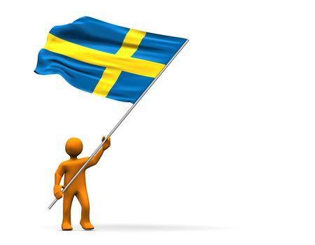 Illustration looks a fan of Sweden with a big flag. illustration