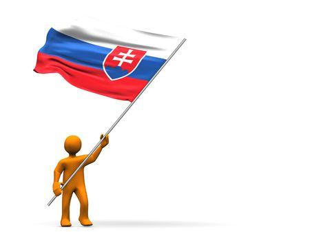 slovakian: Illustration looks a fan of Slovakia with a big flag.
