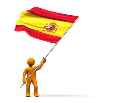 abstractly: Fan with  spanish flag, abstractly 3d illustration. Stock Photo